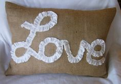 Burlap Lumbar Pillow Cover Lined / Ruffled by CasualEleganceHome, $29.00