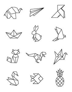 Origami 94181 Illustrations with an exclusive Happybulle design Geometric Drawing, Geometric Art, Geometric Origami, Geometric Animal, Diy Design, Design Art, Design Blog, Design Ideas, Origami Design