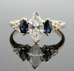 Vintage Ladies Marquis Diamond Three Stone and Sapphire Engagement Ring RGDI550D