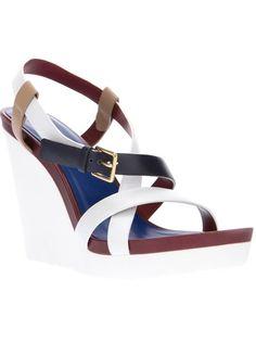 Jil Sander #shoes colorblock #wedge #sandals