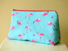 Flamingo Wash Bag, Toiletry Bag With Pink Flamingos on Blue Background, Zipper Pouch, Large Cosmetic Bag, Beauty Pouch, Female Accessory Bag by TabbyCatCraftsShop on Etsy