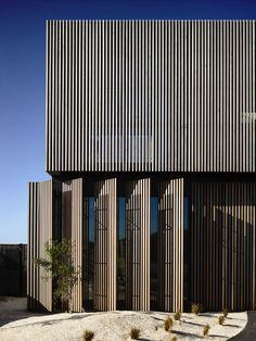 This timber and concrete beach house in Victoria by Australian firm Wolveridge Architects conceals all its windows behind louvred shutters and has courtyards tucked into its sides