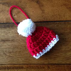 Santa Hat Christmas Decoration pattern by Mrs Lamb Yarns- This pattern is to m. - Santa Hat Christmas Decoration pattern by Mrs Lamb Yarns- This pattern is to make a Santa hat dec - Crochet Christmas Decorations, Christmas Crochet Patterns, Crochet Christmas Ornaments, Holiday Crochet, Christmas Hat, Crochet Gifts, Crochet Santa Hat, Hat Decoration, Confection Au Crochet
