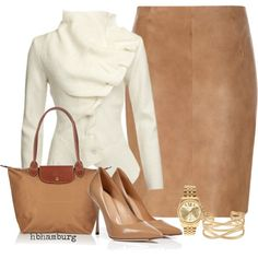 """No. 372 - Beige and White"" by hbhamburg on Polyvore"