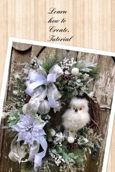 How To Video, Winter owl wreath tutorial, wreath tutorial, h… – Winter Holiday Ideas Owl Wreaths, Christmas Owls, Christmas Wreaths To Make, Deco Mesh Wreaths, How To Make Wreaths, Christmas Decorations, Christmas Ornaments, Winter Wreaths, Christmas Ideas