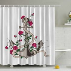 Ambesonne Anchor N' Roses Print Shower Curtain