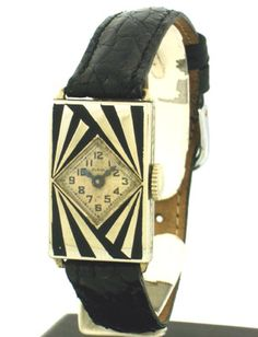 """1929 Vintage Eligin Ladies 14k White Gold Filled watch with Very Unique and Rare Art Deco Black Enamel Inlay Design Case With Original Dial"""