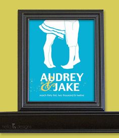 Bride and Groom Sign, Silhouette Art, Personalized Sign, Last Name Sign Print
