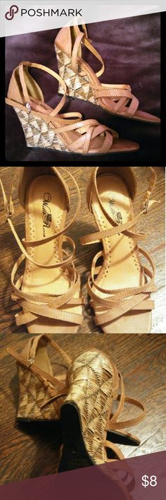Wild Rose tan wedges Practically new! Never worn outside! Cute and comfortable. wild rose  Shoes Wedges
