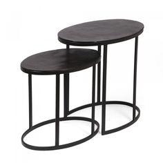 Nesting Tables, End Tables, Modern Design, Table Settings, Bronze, Metal Frames, Easy Storage, Oval Shape, Living Room