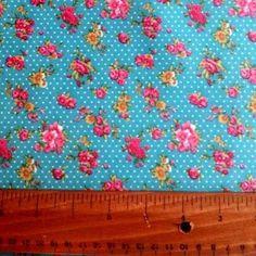 Vintage Floral Ripstop in Turquoise Waterproof Fabric, Vintage Floral, Turquoise, Vintage Flowers, Teal