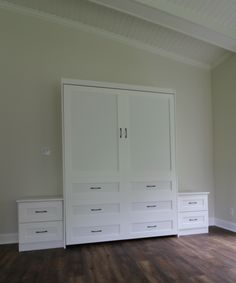 Our customer chose the Bedder Way Vertical Queen Melamine Dresser Cabinet Face Murphy bed in Classic White with black pulls along with nightstand cabinets. Nightstand, Dresser, Murphy Bed, Classic White, Beach House, Cabinets, House Ideas, Queen, Gallery