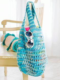 Пляжная сумка и мат вязанные спицами