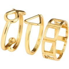 H&M 3-pack fingertip rings (6.08 CAD) ❤ liked on Polyvore featuring jewelry, rings, accessories, anillo, gold, h&m jewelry, finger tip rings, h&m, h&m rings en fingertip rings
