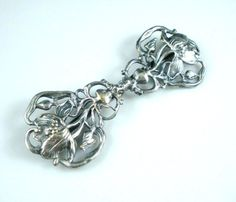Antique Silver Shoe Buckle, Belt Slide, Scarf Clip