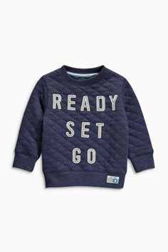 Navy Quilted Slogan Crew Top (3mths-6yrs) from Next