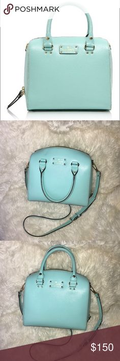 Kate spade Alyssa fresh air (Tiffany blue) bag SUCH good condition, practically mint. maybe worn 10 times or less. Absolutely gorgeous bag!! Comes with dust bag and cross body strap. kate spade Bags Crossbody Bags