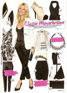 Classic Monochrome featuring Kate Moss in Look Magazine
