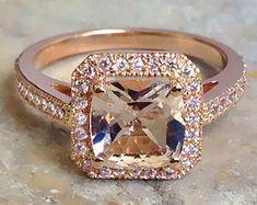 3 Carat Rhodolite Garnet Engagement Ring Baguette Diamond Ring | Etsy Moissanite Diamond Rings, Baguette Diamond Rings, Morganite Ring, Halo Diamond, Cushion Cut Engagement Ring, Morganite Engagement, Diamond Engagement Rings, Pink Stone Rings, Wedding Set