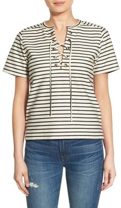 Love this striped lace up top. Perfect look for a beach vacation. Madewell Stripe Lace-Up Top