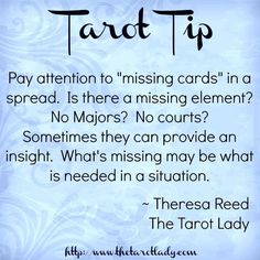 "Tarot Tip 102/8/14: pay attention to ""missing cards"" in a spread. #tarot #tarottip"