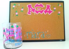 This AXiD has a spoiled little!  Custom painted rose jar and corkboard for Alpha Xi Delta