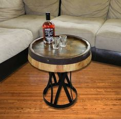 """Quarter Barrel Head Coffee End Table Wrought Iron Stand 19""""x28"""""""