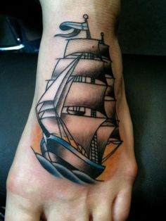 old school / traditional nautic ink - caravel ship