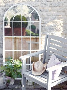 Introduce romance to your outdoor space with our large arched window mirror. With its soft arched top and distressed soft grey finish, this romantic mirror adds new dimension to your garden. Made from mild steel to protect against the weather, this tall m Window Pane Frame, Arched Window Mirror, Arched Windows, Tall Mirror, Mirror Floor, Ornate Mirror, Garden Mirrors, Outdoor Mirrors Garden, String Garden