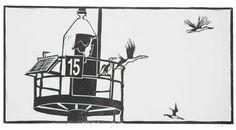 Cormorants on Channel Marker no. 15, Spencer Gulf SA - linocut - Tina Moore, Australia