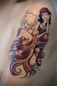 Minimal color schemes can really help tattoos like this image of Death and Delirium pop.