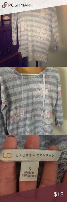 Sweater by Lauren Conrad Blue with pink flowers; 3/4 sleeves LC Lauren Conrad Sweaters Crew & Scoop Necks