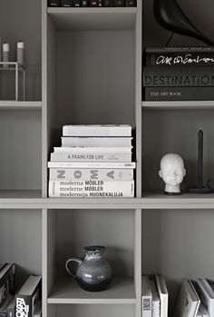 Gray DIY bookcase