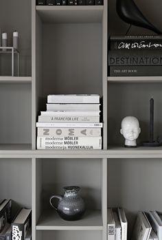 Gray DIY bookcase from IKEA shelves