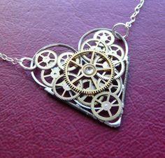 Steampunk jewelry. Jewellery. Heart cogs