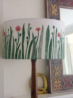Handprinted lampshade made with a lampshade kit