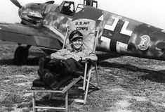 """Leutnant Gottfried Weiroster of the Mosquito-hunting Stabstaffel/JG 50, under the command of Major Hermann Graf, with his Bf 109 G-5/R6, W.Nr. 15 912, """"Red 3""""."""