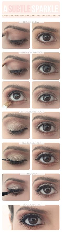 Subtle Sparkle:  1. Apply light gold eyeshadow just above your crease to your brow bone and a  darker burgundy shadow along the crease and another on your lower lash line.    2. Apply the glitter shadow over the lid until you have a good amount.    3. Line the base of your top lashes with liquid eyeliner and add some mascara.    4. Finish by lining your waterline with eyeliner.