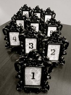 """""""Black Baroque"""" Elegant Place Card Holder/Photo Frame"""