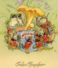 Singing frogs and lady bugs Art And Illustration, Frosch Illustration, Illustrations And Posters, Frog Art, Forest Fairy, Frog And Toad, Old Postcards, Whimsical Art, Painting & Drawing