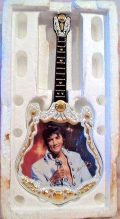 "Bradford Exchange ""1971, The Encore"" Elvis Presley Plate Guitar Shape A07254"