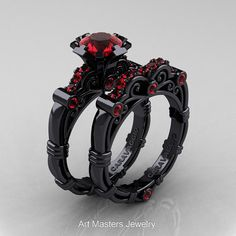 AArt Masters Caravaggio 14K Black Gold 1.0 Ct Ruby Engagement Ring Wedding Band Set R623S-14KBGR