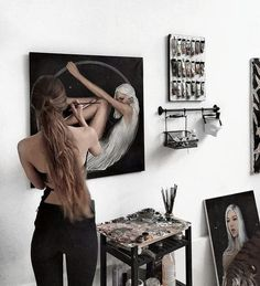 Cool art space set up Artist Life, Artist At Work, Studios D'art, Art Et Design, Artist Aesthetic, Aesthetic Drawing, Art Hoe, Wow Art, Art Girl