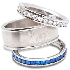 Logo Art Indianapolis Colts Ladies Spirit Crystal Stacked Ring Set