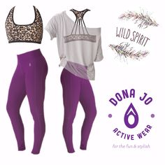 Dona Jo wild spirit style! Spinning leggings (acai), stripe bra (cheetah), and cropped tee (beige). Cute JoJo workout outfit for spinning, running, dance, cross-fit, gym, Zumba, or yoga!