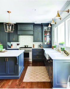 Cool And Contemporary blue kitchen black cabinets to refresh your home