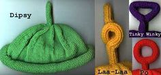 Knitted Teletubbie Hats by Sarah Bradberry