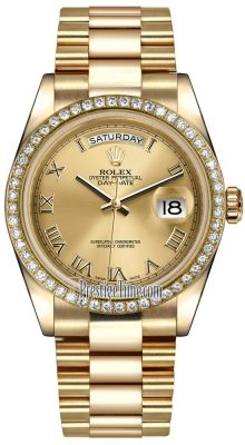 Rolex Day-Date Yellow Gold Diamond Bezel 118348 Champagne Roman President : womens watches on sale Cool Watches, Rolex Watches, Diamond Watches, Cheap Watches, Rolex Day Date, Hand Watch, Champagne Diamond, Gold Hands, Shopping