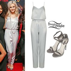 "Perrie appeared on The X-Factor UK last night with her bandmates to perform their new single ""Move"". She wore a Slinky Strappy V Jumpsuit ($90.00) and her Razzle Glitter Sandals ($110.00), both from Topshop."