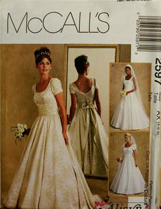 2000s Designer Bridal Gowns by Alicyn Exclusives McCall's Pattern 2597 Uncut Size 4-6-8 Bust 29.5-30.5-31.5""